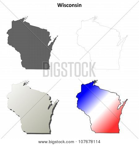 Wisconsin outline map set