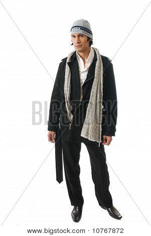 Male Fashion Model In Winter Clothes