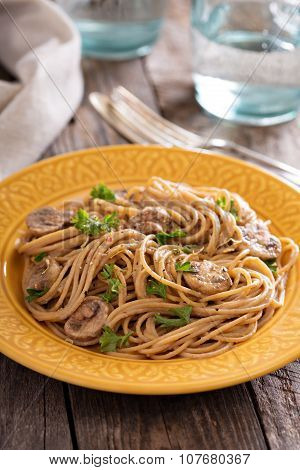 Mushroom whole wheat spaghetti