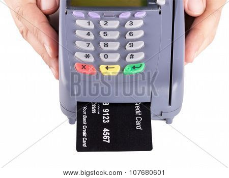 Hand Holding Credit Card Machine Isolated On White Background
