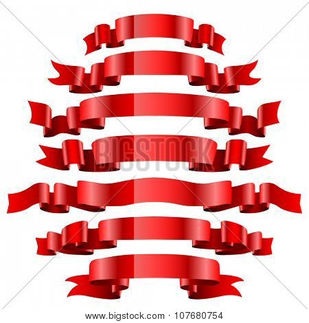 Set of Red Ribbons Isolated on White Background. Illustration