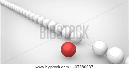 Many Identical 3D White Spheres And Only One Red Sphere Different White Background