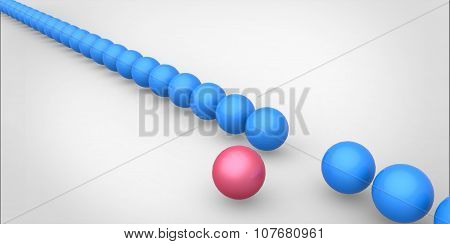 Many Identical 3D Blue Spheres And Only One Pink Sphere Different White Background