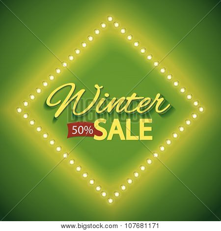 Winter sale with green lights