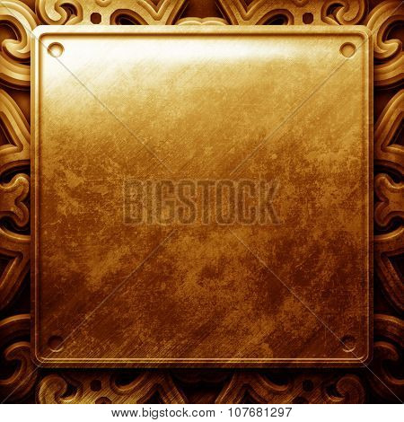 Grunge cracked  gold metal plate with ornament