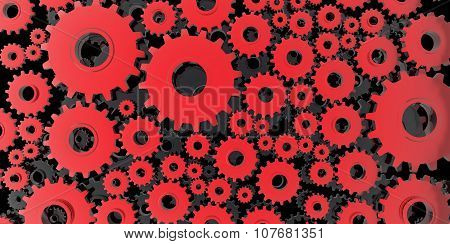 Red And Black Mechanical 3D Manufacturing, Metal Gears Cog Cogs Black Background