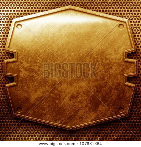 Grunge cracked gold metal plate with grid