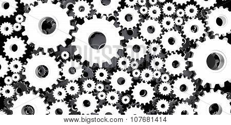 Silver And Black Mechanical 3D Manufacturing, Metal Gears Cog Cogs Black Background