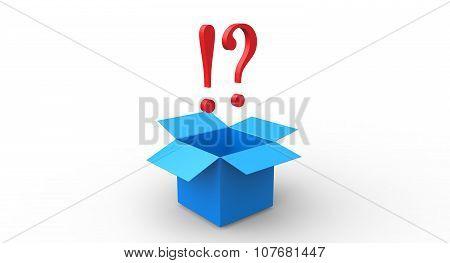 3D Red Exlamation Question Mark Blue Open Box