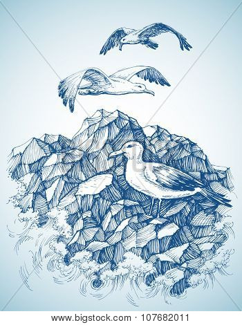 Seagulls over rocky sea shore etch, label design