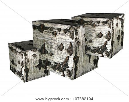 three cubes, square with birch texture 3d
