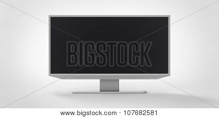 Grey Gray Silver Metal Iron Reflective 3D Tv Lcd On White Background