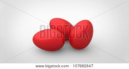 3D Red Easter Eggs White Background