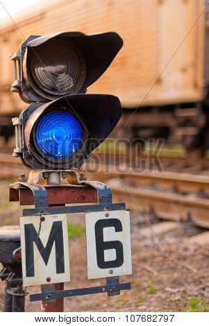 Semaphore Blue Light For Trains On The Railway