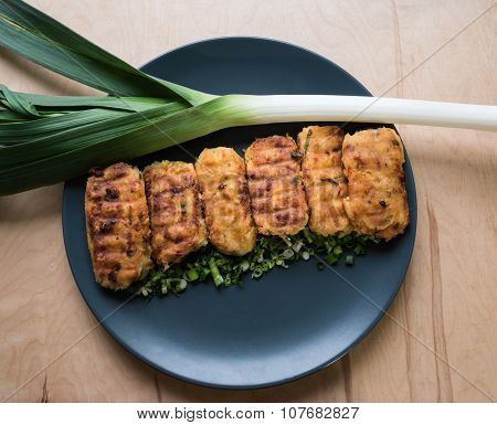 Vegetarian Potato Patties With Herbs And Onions