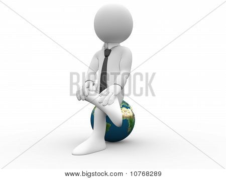3D man sitting with his legs crossed on Earth, with shirt and tie