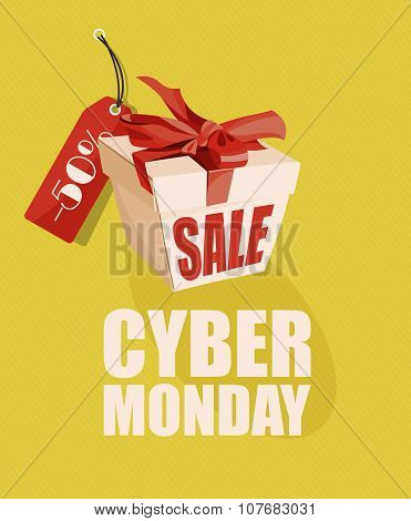 Cyber monday poster. Sale and discount