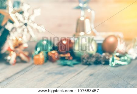 Abstract Blurred Of Christmas Decoration Background, Vintage Toning