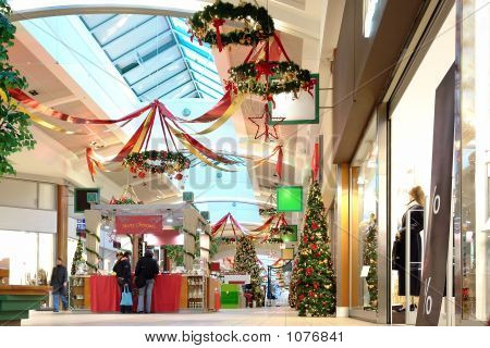 Sazonalmente decorado Shopping Center