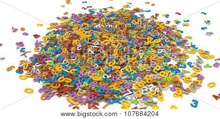 3D Multi Colour Pile Of Alphabet Letters On White Background