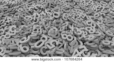 3D Grey Gray Colour Pile Of Alphabet Matte Letters On White Background