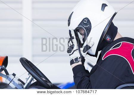 Go-kart Racer Ready For Race