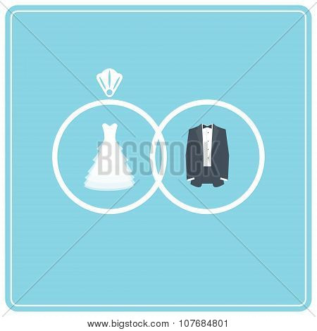 Wedding Dress and Suit. Two Wedding Rings