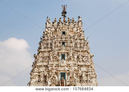 Top Of Hindu Temple With Many Sculptures Of Gods
