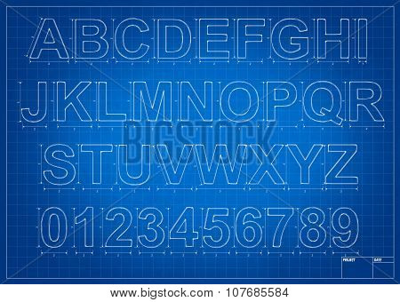 Architect Blueprint Alphabet Letters