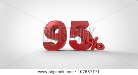 3D Rendering Of A Red 95 Percent Letters On A White Background