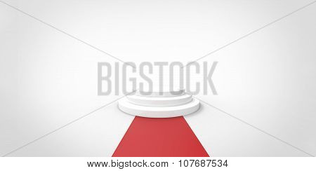 White Podium On Red Carpet Vip Way Gold Fence On White Gray Background