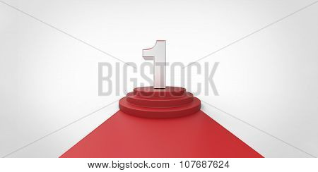 Number 1 Red Carpet Vip Way Silver Chrome Fence On White Gray Background