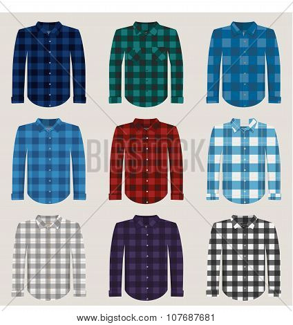 Plaid Patterned Shirts for Men Vector Set