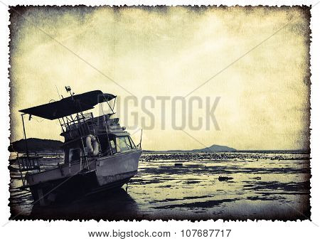 Motor Boat On Old Burnt Paper Sheet