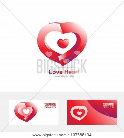 Red Love Heart Logo 3D