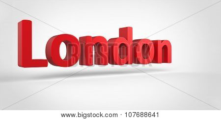 London 3D Text Illustration Of City Name Render Isolated On White Grey Gray Background
