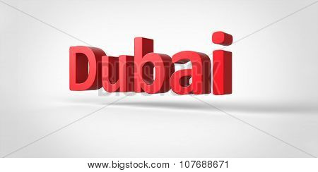 Dubai 3D Text Illustration Of City Name Render Isolated On White Grey Gray Background