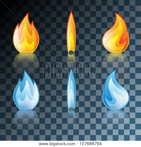 Red and Blue Flame Icon Set Isolated on Transparent background. Illustration Vector Eps10.