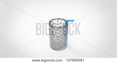 3D Glass With A Blue Straw Inside