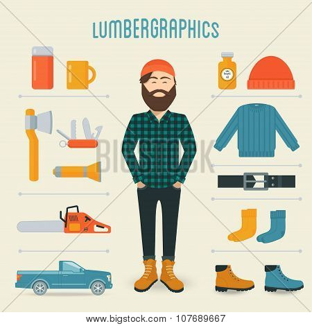 Lumberman Fashion Trend Infographics Elements