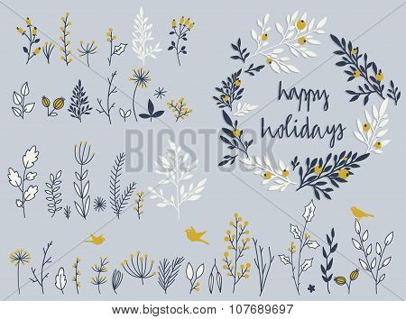 Holiday set of hand-drawn flowers and herbs in vector