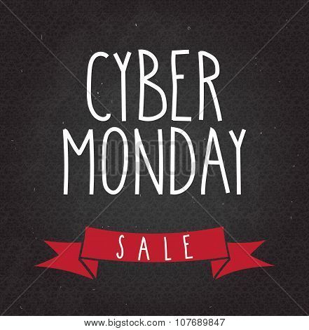 Cyber Monday Sale handwritten text on black chalkboard
