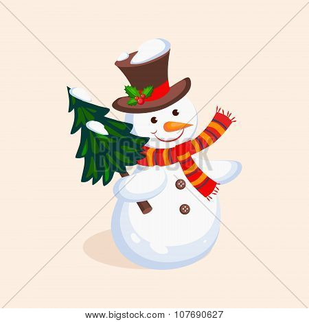 Cheerful Snowman holding a Christmas Tree. Vector Illustration