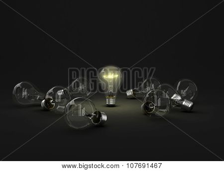 Light Bulbs With One  Different From The Others
