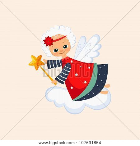Christmas Angel with a Magic Wand. Vector Illustration