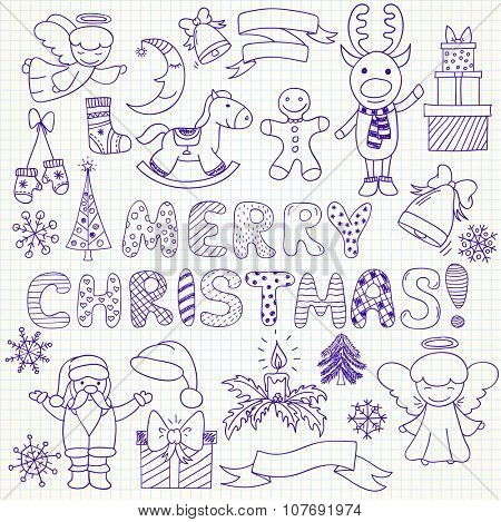 Set of vector Christmas characters and ornaments in doodle style (included snowflake;  gift; Santa Claus; deer; mistletoe; angel; bell; sock; candle; pine; mistletoe; rocking horse, gingerbread man)
