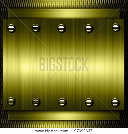 Gold metal background. Gold polished metal, steel texture.