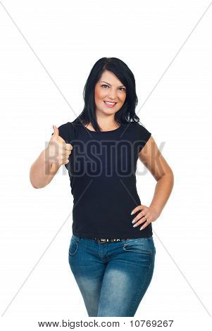 Cute Woman In Blank T-shirt Give Thumbs