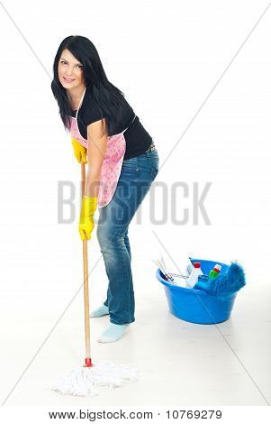 Woman Washing Floor