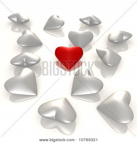 A red heart among the others - 3d image